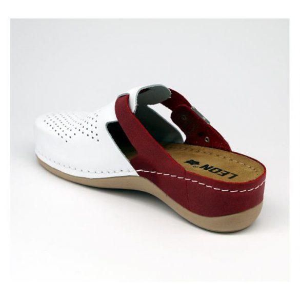 Leon Comfort női papucs-901 Fehér/Piros