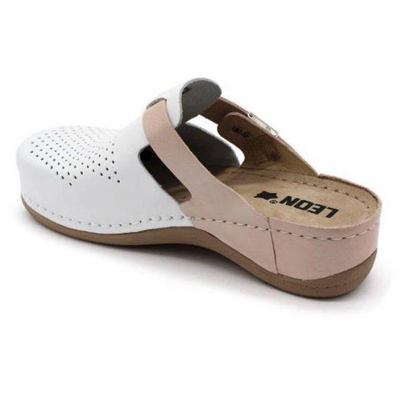 Leon Comfort női papucs-901 Fehér/Púder